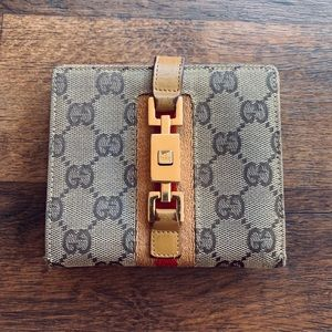 Gucci Monogram Tan Canvas & Yellow Leather Wallet